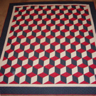 Custom quilt in Tumbling Blocks Pattern